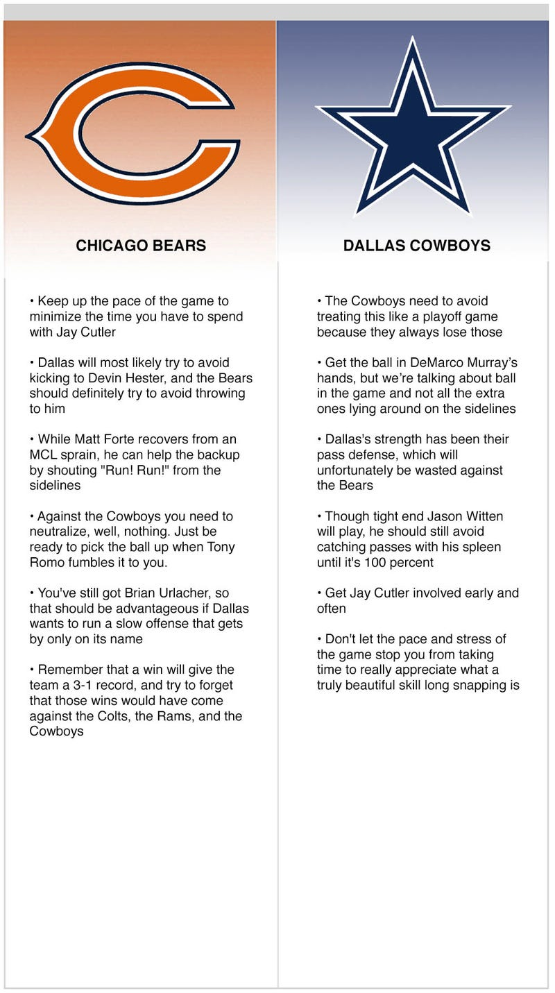 Illustration for article titled Bears vs. Cowboys