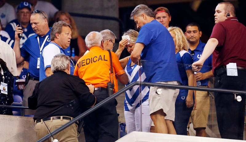 Illustration for article titled Two Fans Go To The Hospital After Bolt Falls From Roof At Colts Game