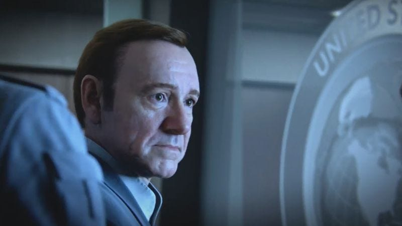 Illustration for article titled Digital Kevin Spacey's lifeless gaze stars in latest Call Of Duty trailer