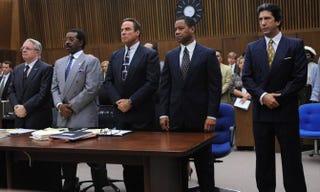 Nathan Lane as F. Lee Bailey; Courtney B. Vance as Johnnie Cochran; John Travolta as Robert Shapiro; Cuba Gooding Jr. as O.J. Simpson; and David Schwimmer as Robert Kardashian in The People v. O.J. SimpsonRay Mickshaw/FX