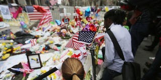 Makeshift memorial for victims near site of the Boston Marathon bombings (Mario Tama/Getty Images)