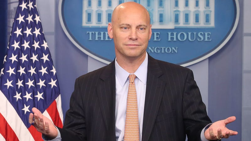 Marc Short, White House director of legislative affairs, briefs the media on President Donald Trump's meeting with Senate Republicans earlier in the day, at the James Brady Press Briefing Room July 19, 2017 in Washington, DC