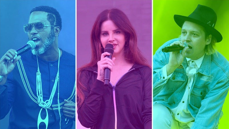 Shabazz Palaces (Photo: Suzi Pratt/WireImage/Getty Images), Lana Del Rey (Photo: C Flanigan/Getty Images), and Arcade Fire (Photo: Carrie Davenport/Redferns). Graphic: Natalie Peeples