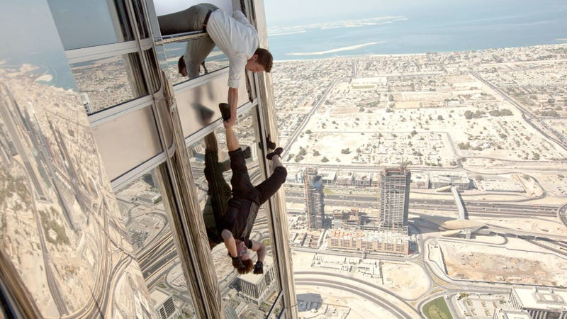Tom Cruise dangles from the Burj Khalifa, currently the world's tallest building, in Mission: Impossible—Ghost Protocol.