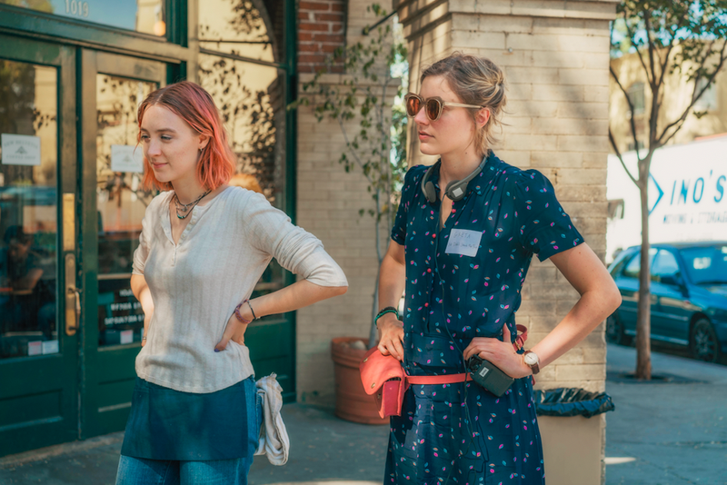 Saoirse Ronan and writer-director Greta Gerwig on the set of Lady Bird (photo: A24)