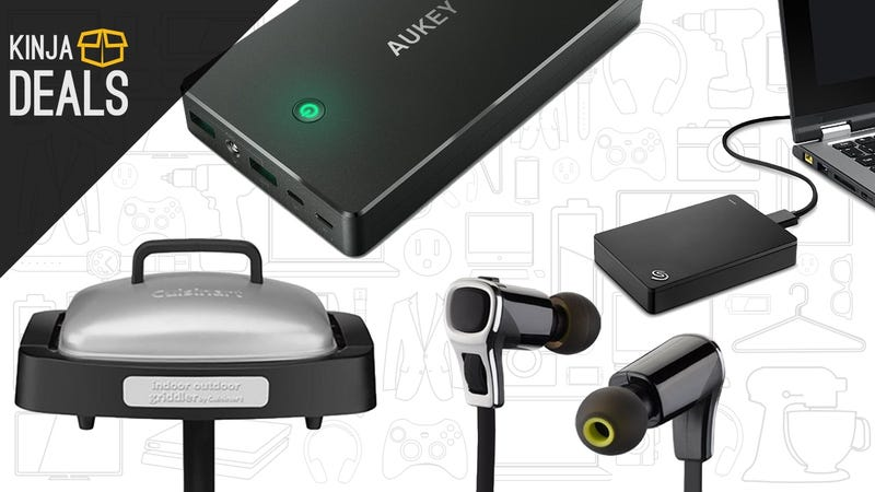 Illustration for article titled Today's Best Deals: Electric Grill, Lightning Power Bank, Noise-Canceling Earbuds, and More