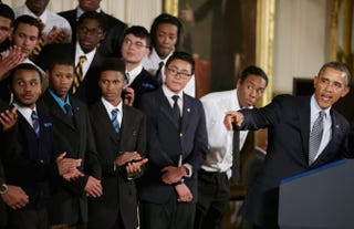 President Barack Obama delivers remarks about his 'My Brother's Keeper' initiative with students from the Hyde Park Academy in the East Room at the White House February 27, 2014 in Washington, D.C.Chip Somodevilla/Getty Images