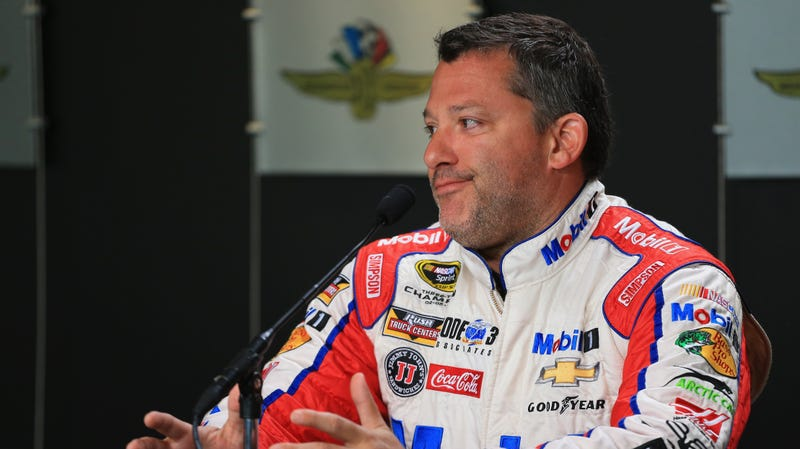 Tony Stewart during a NASCAR press conference at Indianapolis Motor Speedway in 2016.