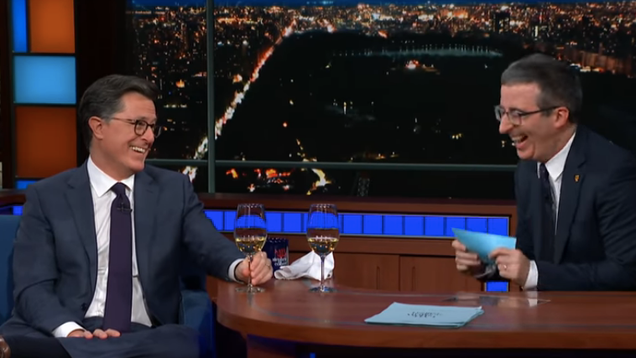 Amy Sedaris and John Oliver take over The Late Show to interview old pal Stephen Colbert