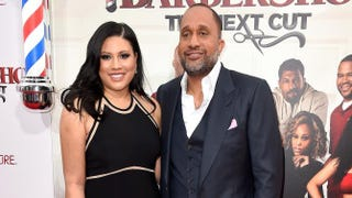 Writers Tracy Oliver and Kenya Barris attend the premiere of Barbershop: The Next Cut on April 6, 2016, in Hollywood, Calif.Frazer Harrison/Getty Images