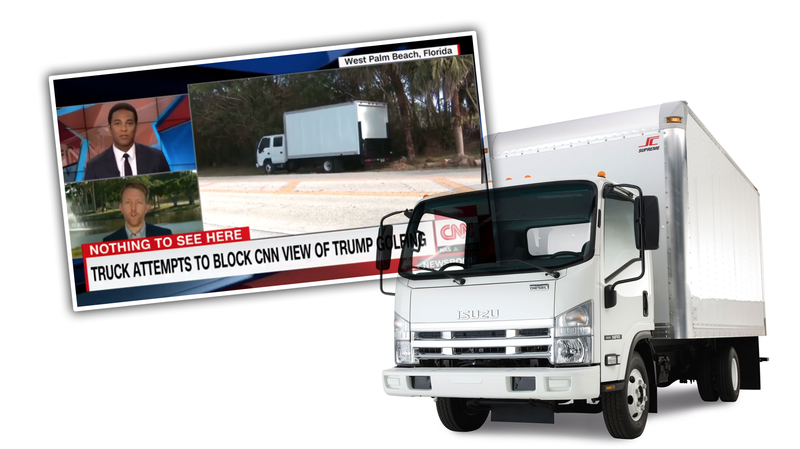 Illustration for article titled Isuzu Truck Appears To Have Landed Lucrative 'Obscure View Of  President Trump Golfing' Role UPDATED