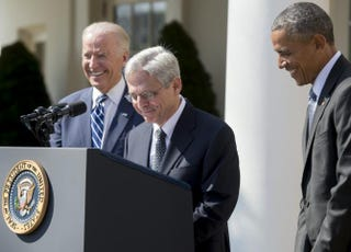 President Barack Obama (right) announces his Supreme Court nominee, federal appeals court Judge Merrick Garland (center), as Vice President Joe Biden looks on in the Rose Garden of the White House on March 16, 2016.SAUL LOEB/Getty Images