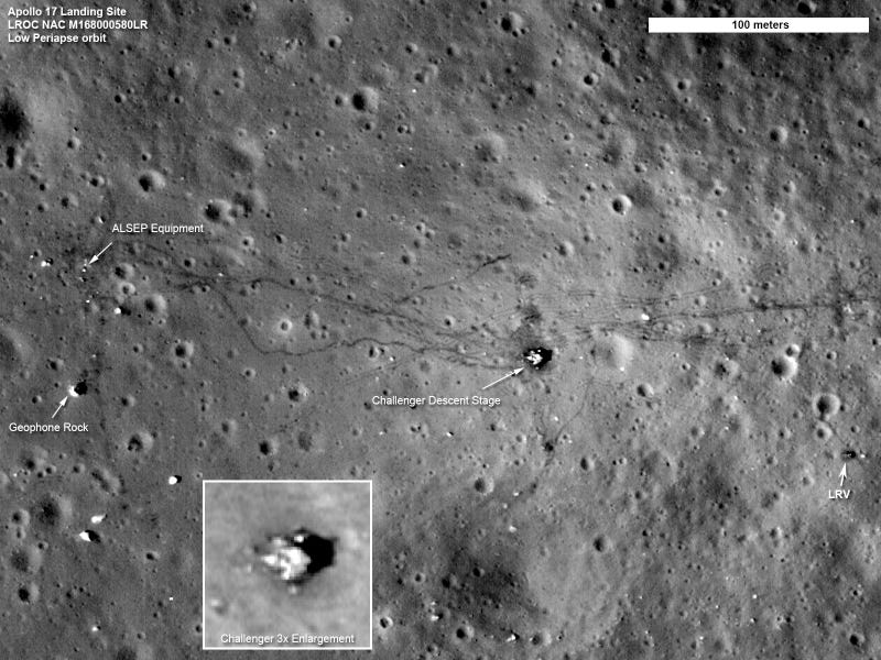 Illustration for article titled New Moon Landing Sites Photos Are So Sharp They Show Detailed Rover Tire Marks
