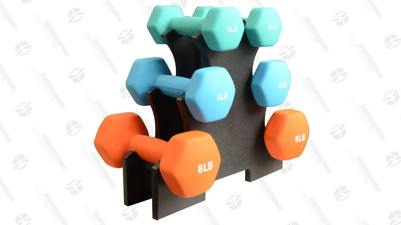 BalanceFrom 32 Pound Dumbbell Set with Rack | $24 | Amazon