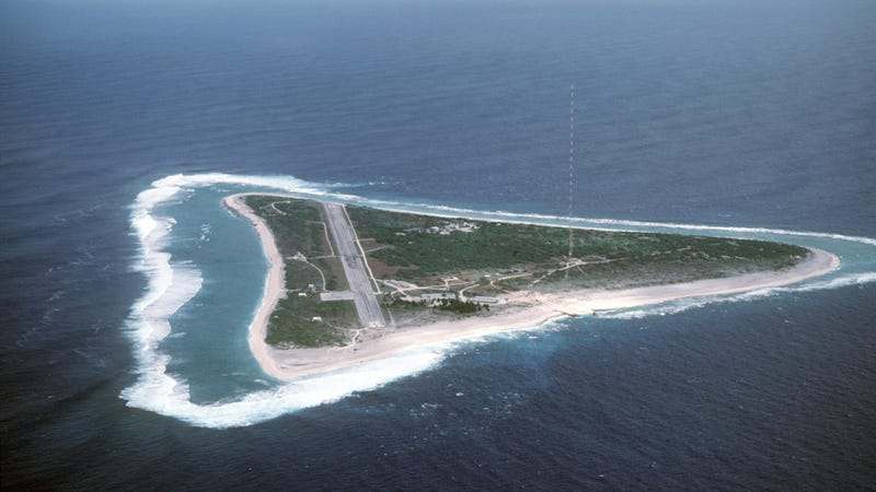 Aerial view of Japan's Minamitorishima Island