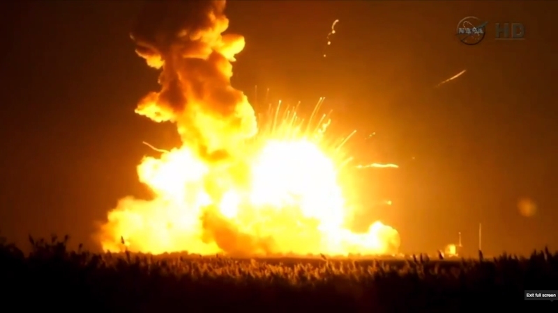 Illustration for article titled Watch NASA's Unmanned Antares Rocket Explode Seconds After Launching