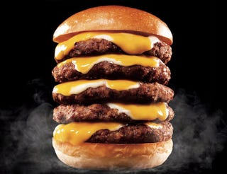 Illustration for article titled Can anyone really eat this insane five-patty Japanese cheeseburger?