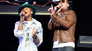 Pharrell Williams and Robin Thicke perform during Wal-Mart's annual shareholders meeting June 6, 2014, in Fayetteville, Ark.Jamie McCarthy/Getty Images for Wal-Mart