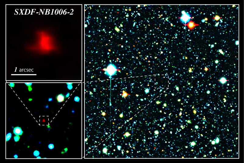 A close up of Galaxy SXDF-NB1006-2, where the oxygen was detected (Image: NAOJ)