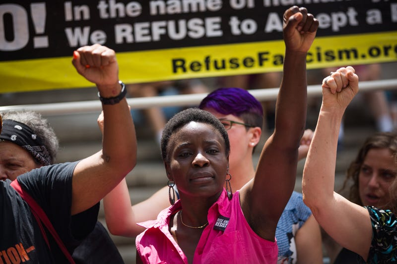 Therese Patricia Okoumou at an immmigration protest in NYC on July 31, 2018.