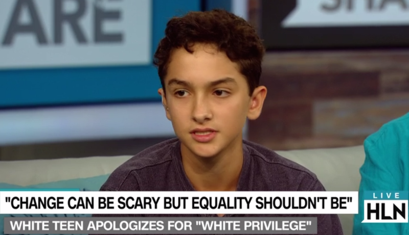 "Royce Mann, 14, talks about his slam poem ""White-Boy Privilege"" on HLN's The Daily Share.The Daily Share via CNN"