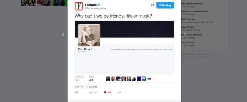 Illustration for article titled Elon Musk Just Blocked Fortune On Twitter