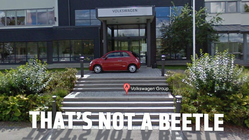 Illustration for article titled Fiat Photo Bombs Volkswagen With Elaborate Street View Prank