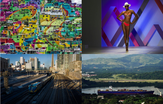 Clockwise from top left: A town painted as a giant mural in Mexico City; a fashion model on the catwalk in Cape Town, South Africa; a scene from the Panama Canal near Panama City; a train heading toward Windsor in Ontario, Canada.OMAR TORRES/AFP/Getty Images; RODGER BOSCH/AFP/Getty Images; RODRIGO ARANGUA/AFP/Getty Images; Ian Willms/Getty Images