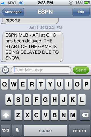 Illustration for article titled ESPN Reports The Diamondbacks-Cubs Game Is Being Delayed By Snow
