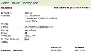 Illustration for article titled Jack Thompson Now Officially Disbarred