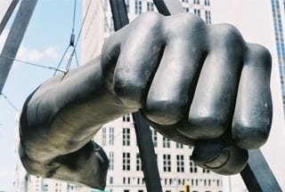 "Monument to boxing great Joe Louis, aka ""the Fist,"" at Detroit's Hart PlazaTwitter"