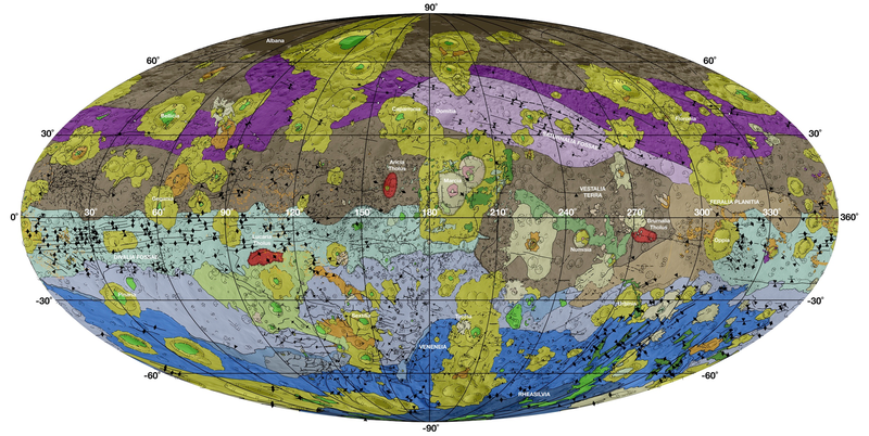 Illustration for article titled An Incredibly Detailed Geologic Map Of Giant Asteroid Vesta