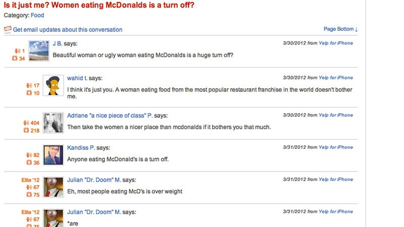 Illustration for article titled The Dumbest Yelp Thread Ever: 'Is It Just Me? Women Eating McDonald's a Turn Off?'