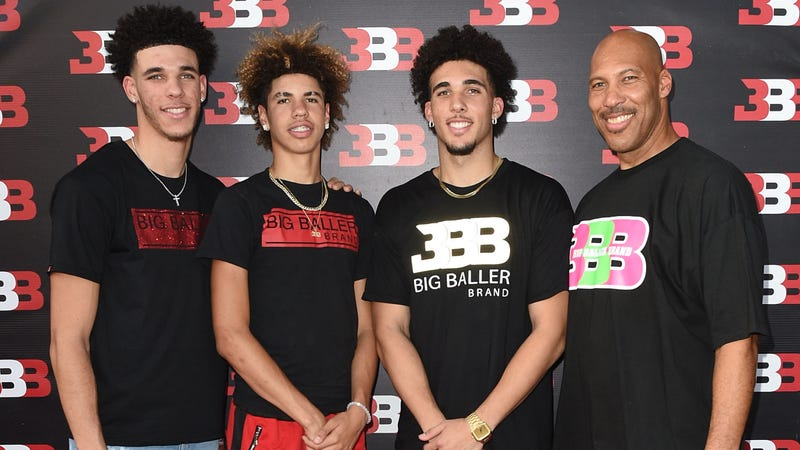LaVar Ball (right) and his sons (Joshua Blanchard/Getty Images)