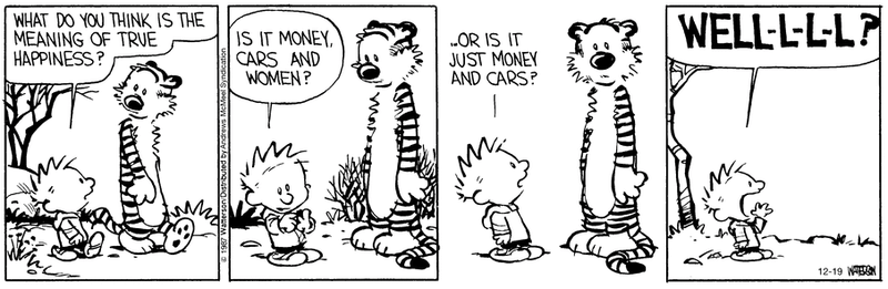 Illustration for article titled Calvin asks the truly important questions
