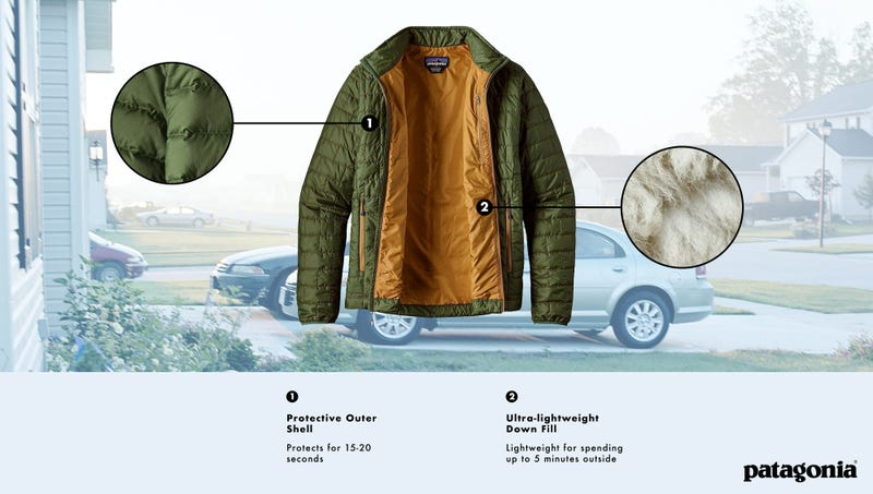 Illustration for article titled Patagonia Introduces New High-Performance Jacket Specially Designed To Protect Wearer On Walk Between Front Door And Car