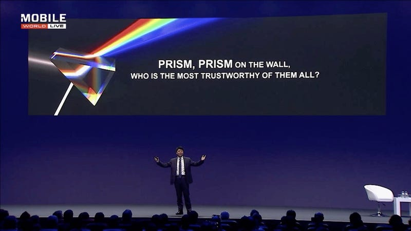 Huawei's rotating chairman Guo Ping on stage at the Mobile World Congress 2019 on February 26, 2019
