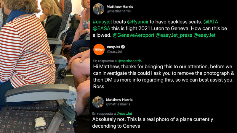 Illustration for article titled Por qué easyJet mandó borrar esta foto de un avión con dos asientos sin respaldo