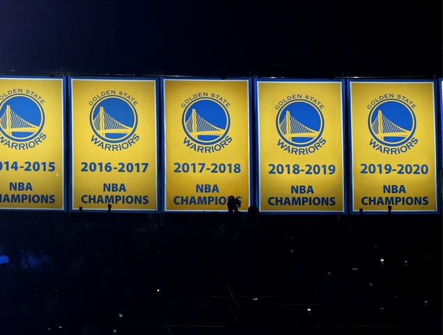 Golden State Raises 2018, 2019, 2020 Championship Banners