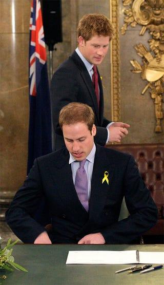 Illustration for article titled Prince Harry Gives William The Royal Once-Over