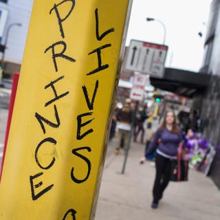 Graffiti is scrawled on a light pole near a memorial to Prince outside the First Avenue nightclub in Minneapolis on April 22, 2016.Scott Olson/Getty Images