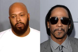 Suge Knight in 2012 mug shot; Katt Williams in 2013Las Vegas Metropolitan Police Department via Getty Images; Michael Buckner/Getty Images