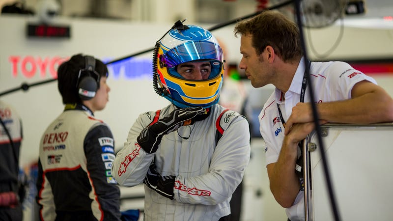 Alonso testing the Toyota TS050 at the Bahrain Rookie Test, which is a real thing that happened. Photo credit: Marcel Langer/FIA WEC