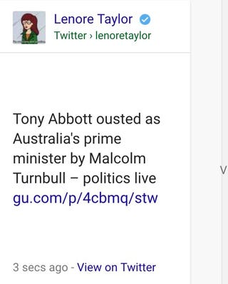 Illustration for article titled Did Australia just toss Tony Abbott to the curb and get a new PM?