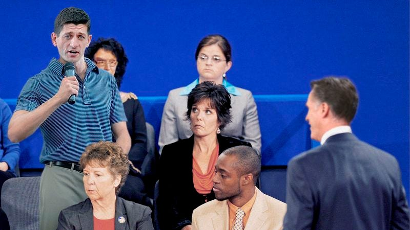 Illustration for article titled First Question From Debate Audience Somehow Comes From Paul Ryan