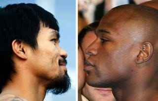 A combo of file pictures shows Manny Pacquiao in 2010 and Floyd Mayweather Jr. in 2007.Chris Cozzone/AFP/Getty Images