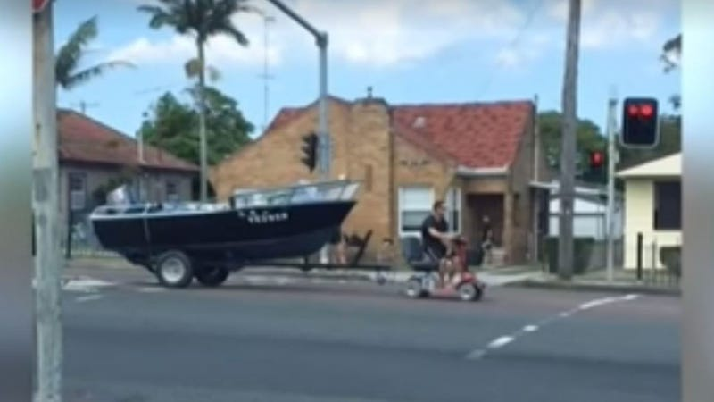 Illustration for article titled Aussie Man Who Used a Mobility Scooter to Tow His Boat: 'Well I Lost Me License'
