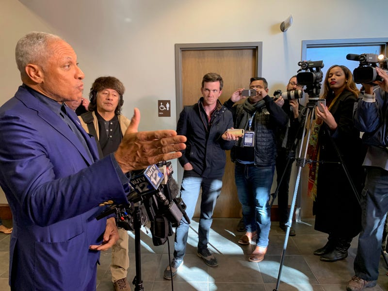 Mike Espy talking to media at Highland Colony Baptist Church in Ridgeland, Miss., on Tuesday, November 27, 2018
