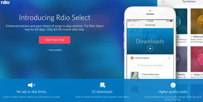Illustration for article titled Rdio Announces a New, Limited $4 Streaming Music Subscription
