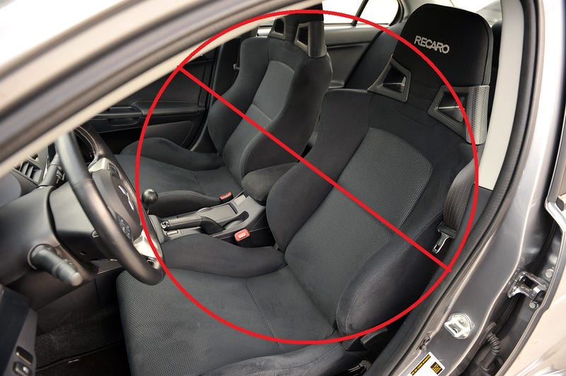 Illustration for article titled The 2015 Lancer Evolution X does not have Recaro seats.